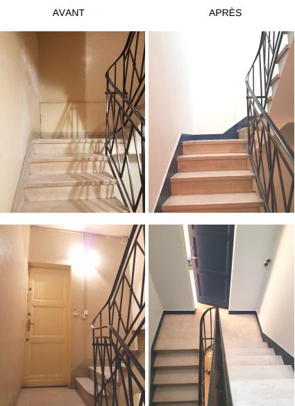 cage d'escalier avant après